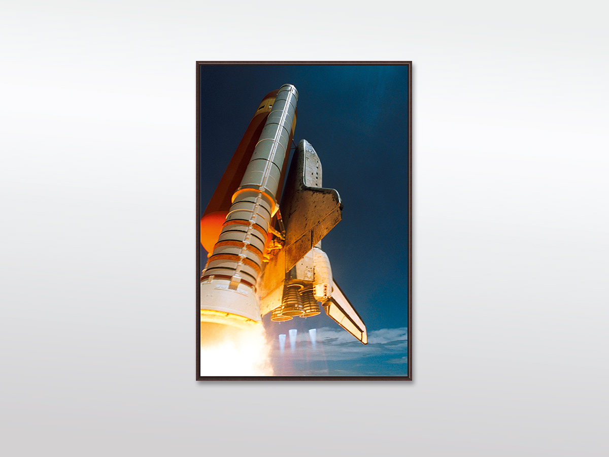 Leinwandbild XXL Space Shuttle - mit Holzrahmen, braun