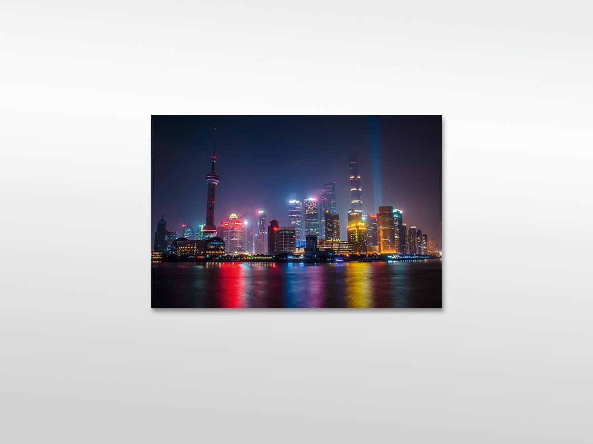 Leinwandbild Shanghai Skyline bei Nacht