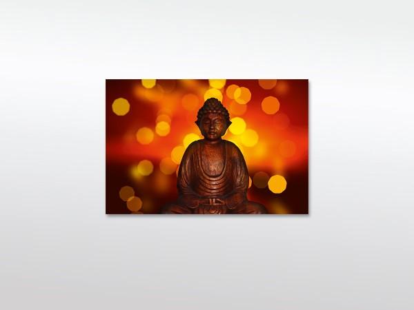 Wandbild Buddha mit Lichtern