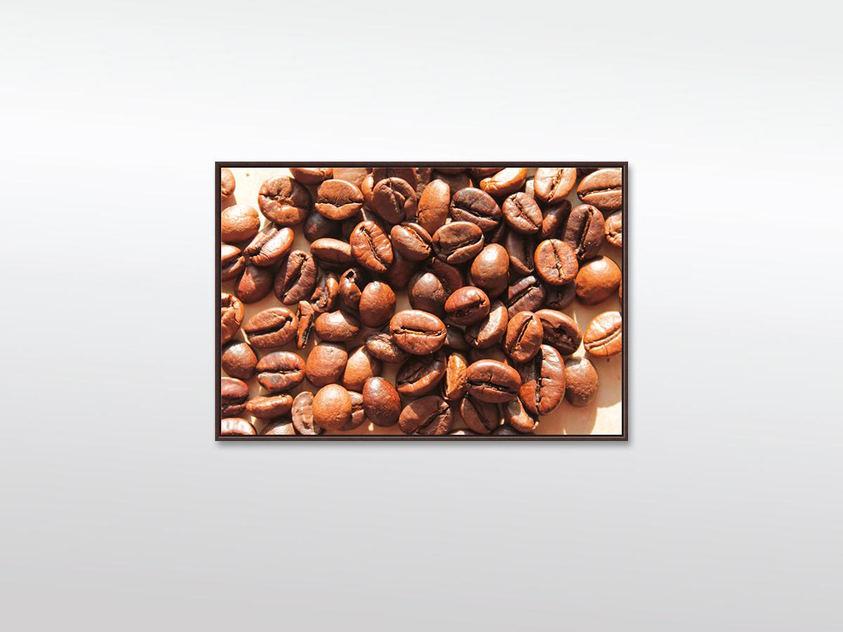 Leinwandbild XXL Große Kaffeebohnen in versch. Formaten mit Schattenfugenrahmen (Holz), schwarz
